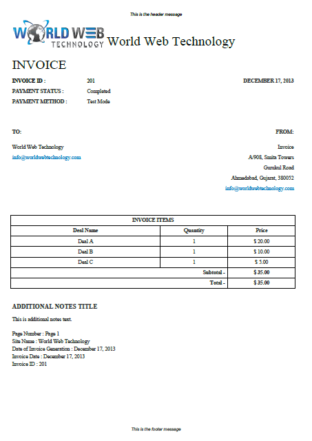 Traditional Pdf Invoice