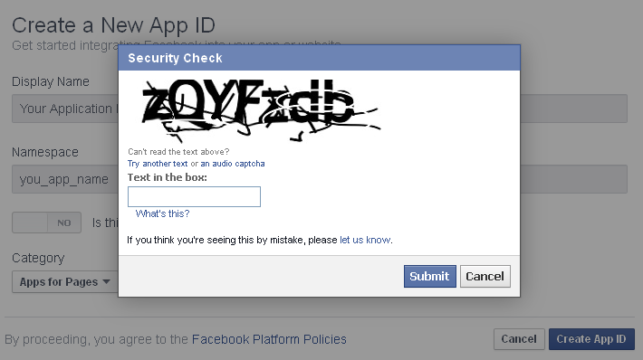 Facebook App Captcha