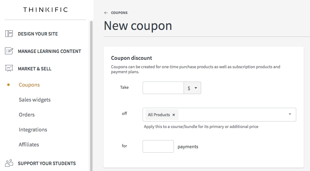 Create coupons thinkific now fill out the details of your promotion fandeluxe Gallery