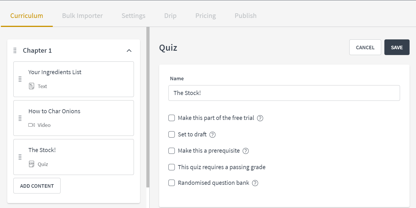 Importing Quiz Questions : Thinkific