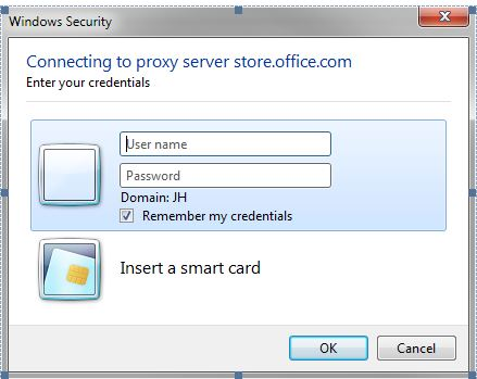 Connecting to proxy server store office com (OUTLOOK 2013 POP UP