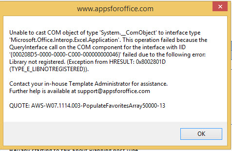 Library not registered error when Word starts : APPS FOR OFFICE