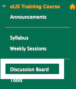 screenshot of Discussion Board link in course menu