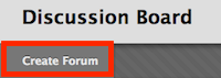 screenshot of create forum button