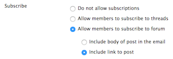 screenshot of subscription options