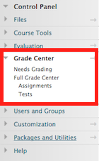 go to the course control panel and select grade center