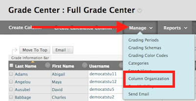 click on the manage tab and select column organization