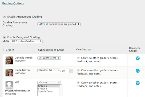 in the grading options, select enable delegated grading