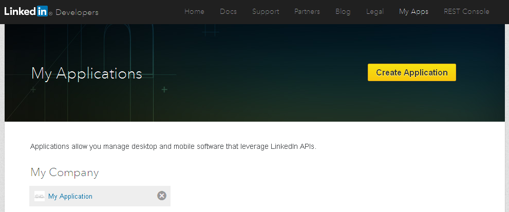LinkedIn Developer Page