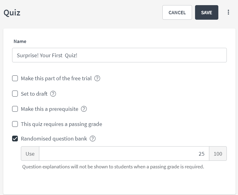 Randomized Question Bank for Quizzes : Thinkific