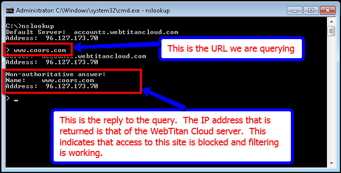 Testing with nslookup : WebTitan Cloud Technical Support