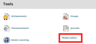 screenshot of Media Gallery link in tools area