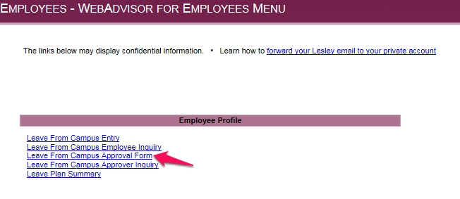 Employee Leave From Campus Form  Information Technology  Elearning