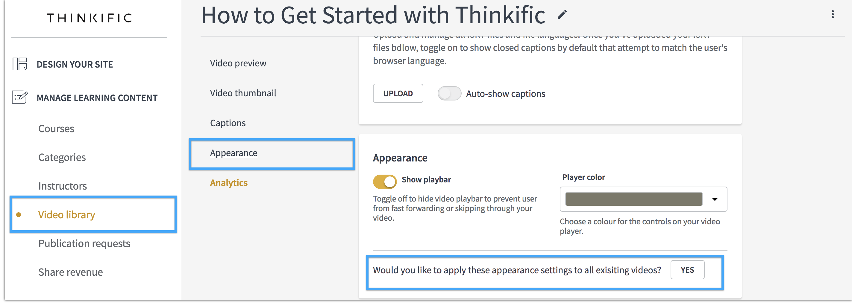 Change the Color of Your Video Player : Thinkific