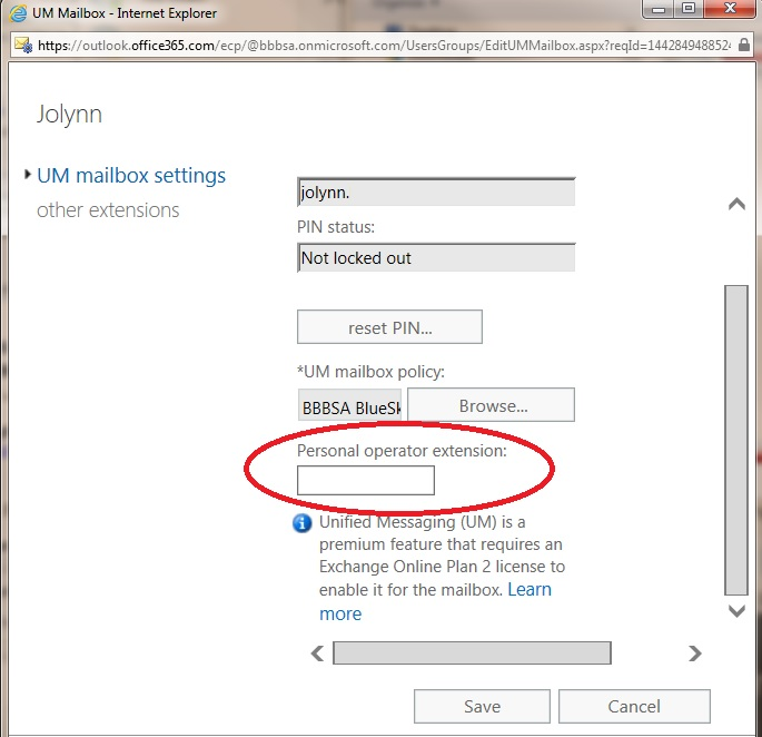 Adding or changing the Personal Operator Ext  in Office 365