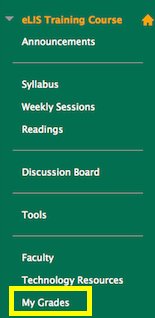 screenshot of My Grades link in course menu