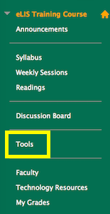 screenshot of Tools link in course menu