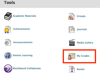 screenshot of My Grades link in Tools area