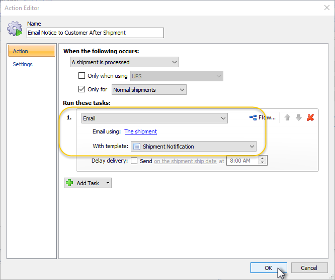 Configuring Automatic E Mail Notifications Shipworks Support