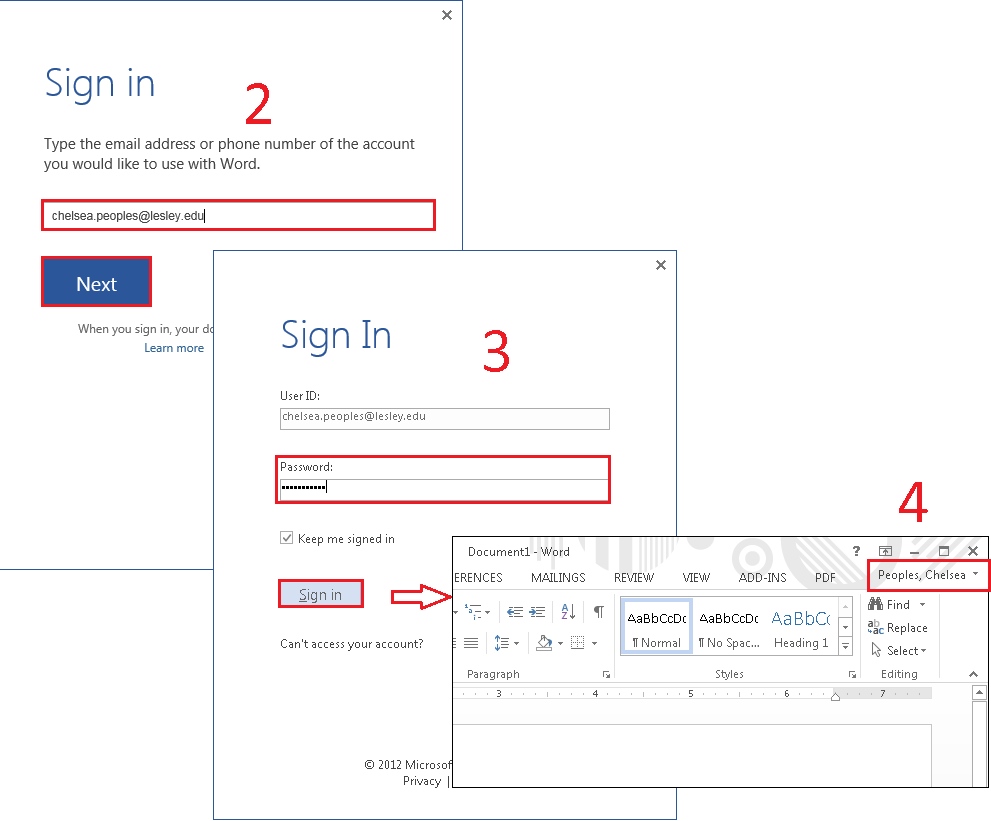 Linking Microsoft Office to your OneDrive for Business on a