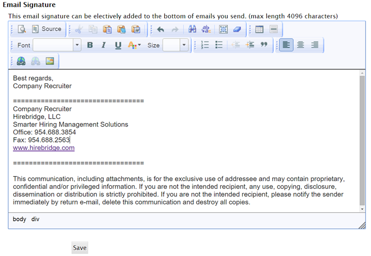 Creating/Editing Your Email Signature as a User or Recruiter or ...