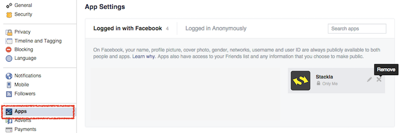 How do i remove my account from facebook