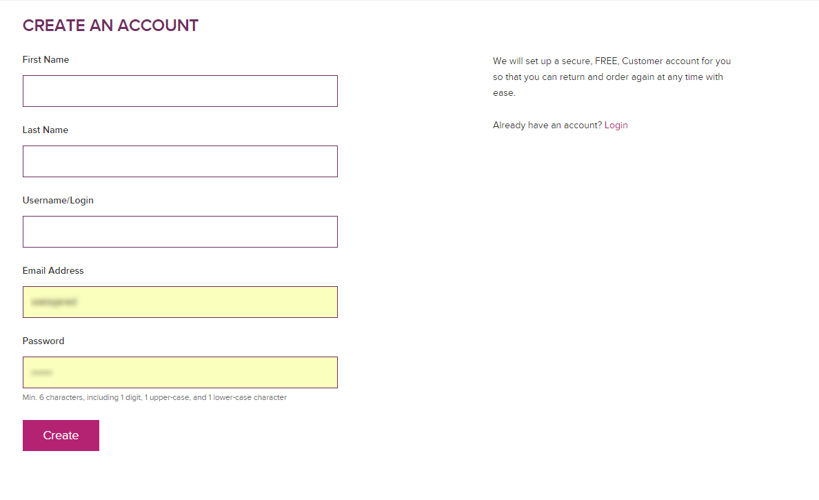 Customer account create/ - Fill Out All The Required Information And Click Create