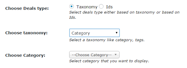 Deals Listing Taxonomy