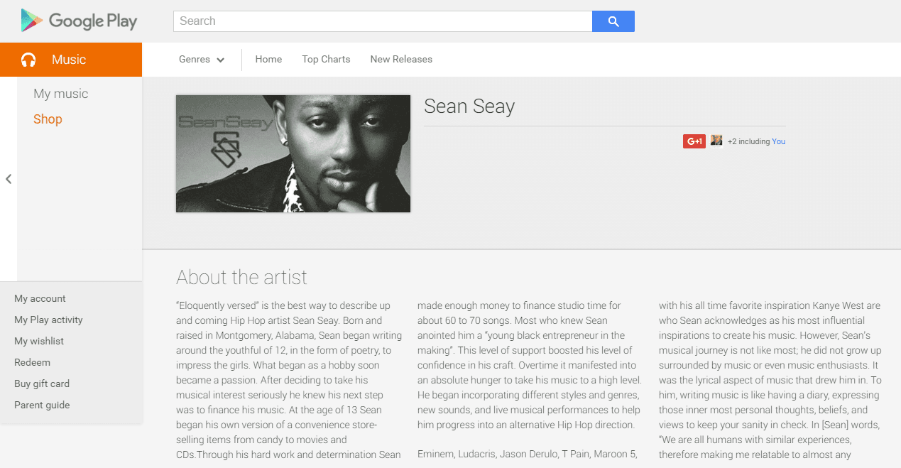 click here to see Sean Seay's Google Music page