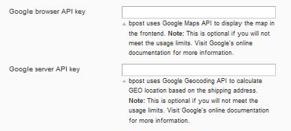 Google API Key - frontend maps : bpack integration helpdesk