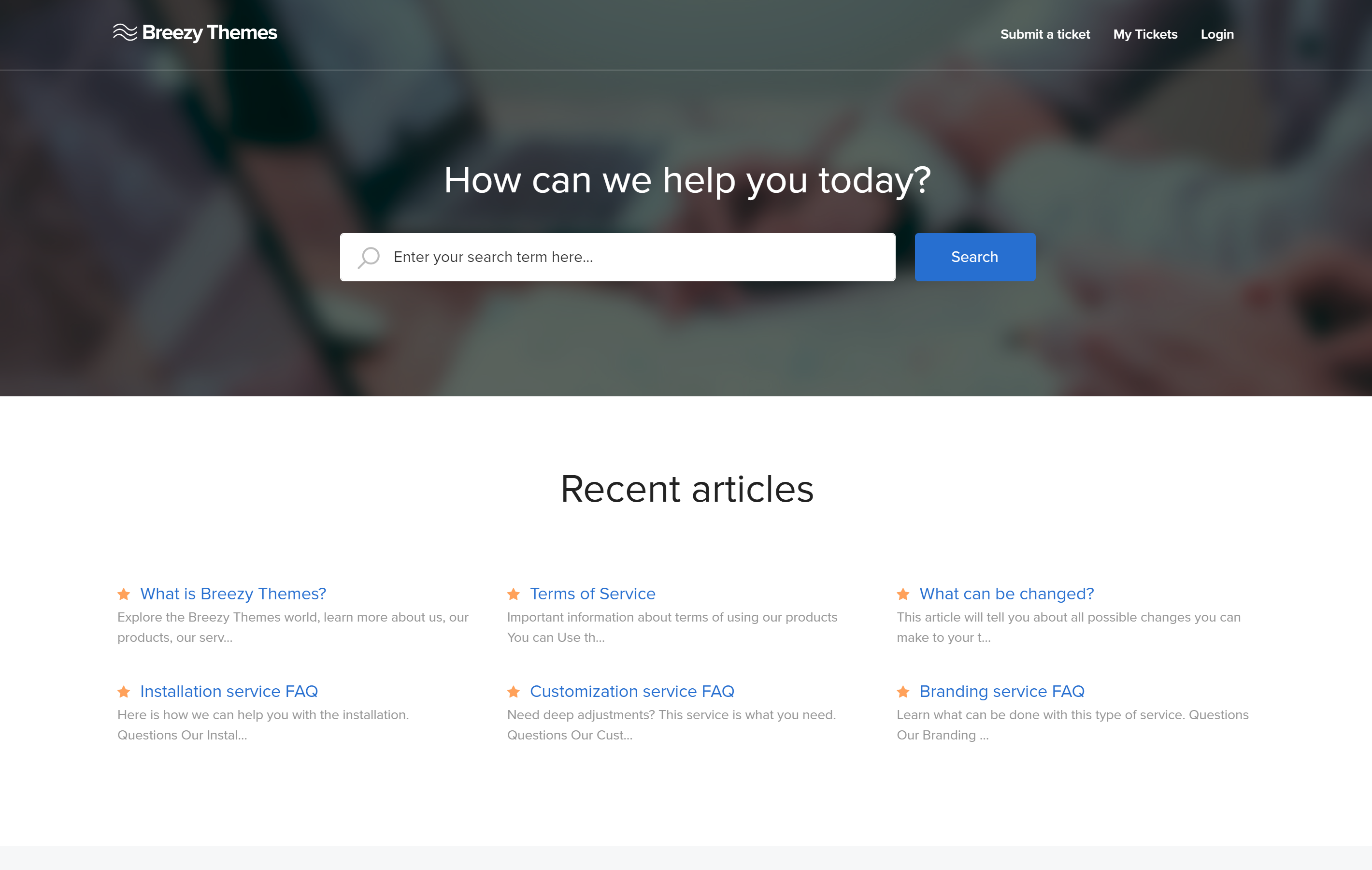 Freshdesk theme customized by Breezy Themes