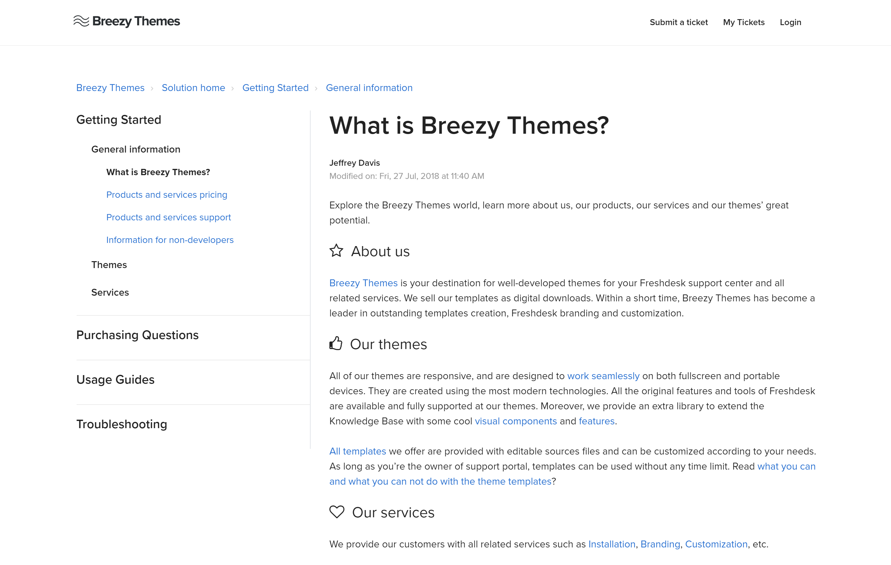 Article page on a Freshdesk theme customized by Breezy Themes