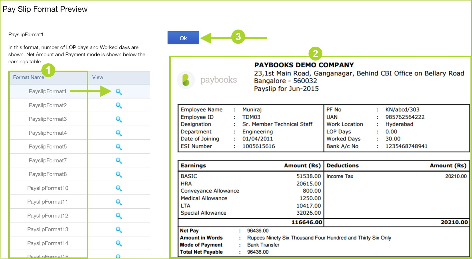 How To Customize Format Of Pay Slips?  Example Payslip