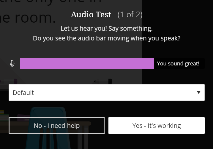 screenshot of audio test