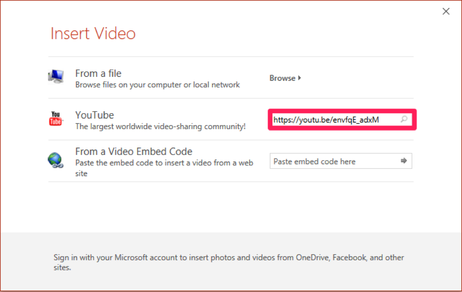 How to embed YouTube Video into slide (PC) : Information