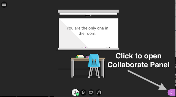 screenshot of Collaborate Session with callout to the Collaborate Panel on the lower right side of the screen
