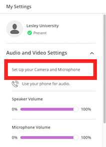 screenshot of My Settings with callout to Set Up Your Camera and Microphone