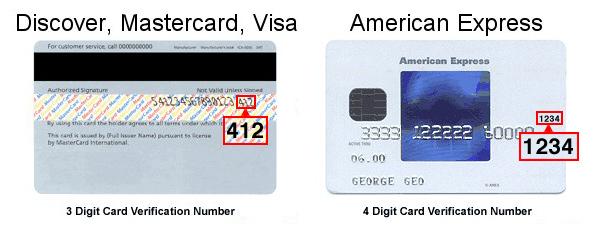 sample credit card security code