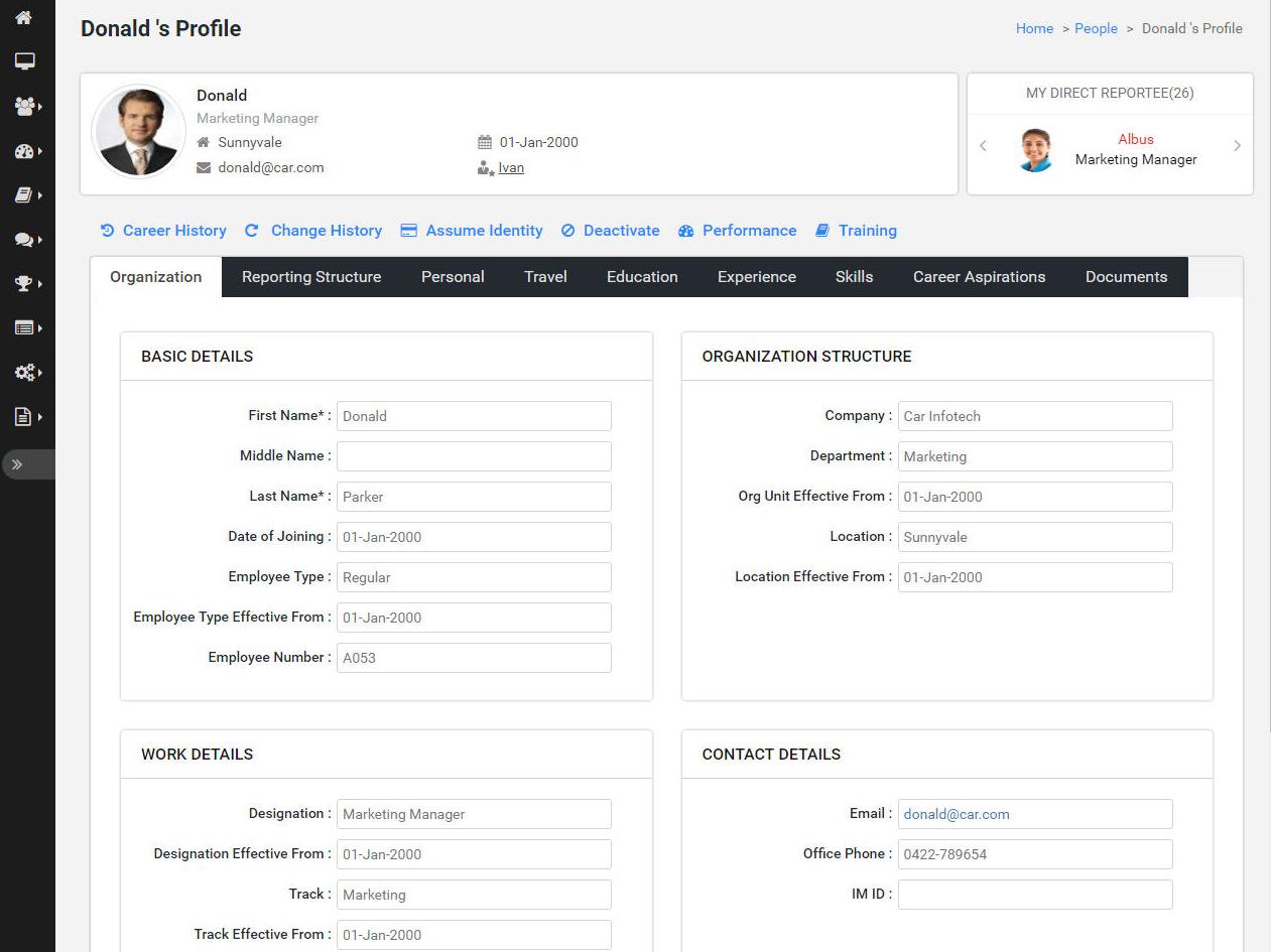 Employee profile page Synergita
