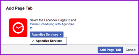 Add page tab facebook