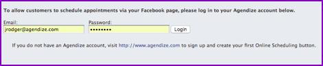 Agendize login facebook
