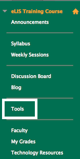 screenshot of a sample myLesley course menu