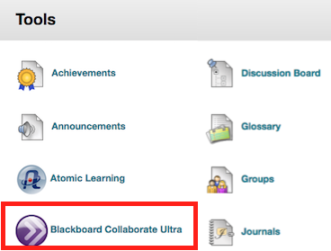 screenshot of Tools area of course with callout to Blackboard Collaborate Ultra