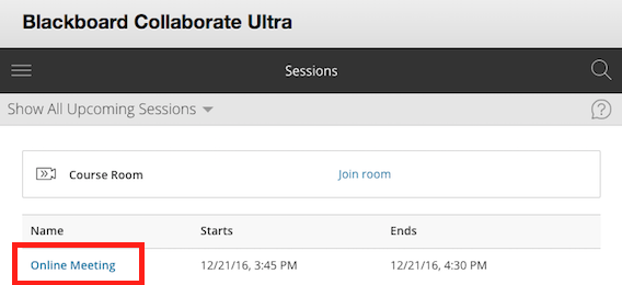 screenshot of Collaborate Ultra session link within myLesley