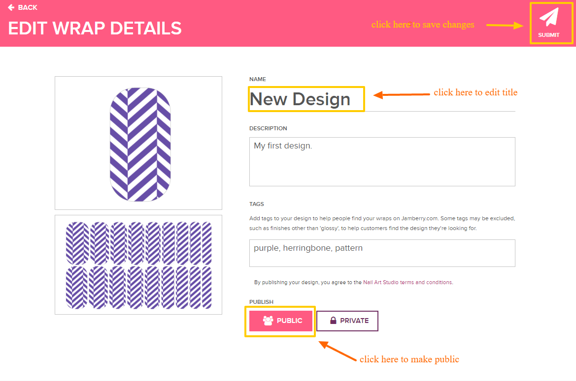 Making an Approved Design Public : Customer Support Portal