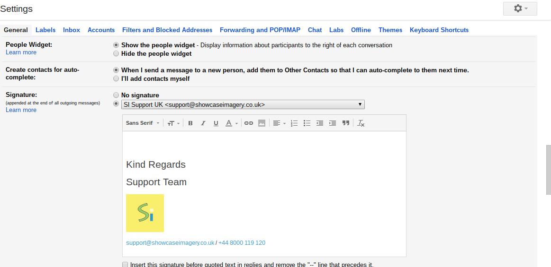 signature settings in gmail