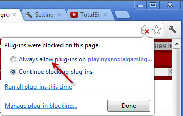 How to enable Flash Player in your browser : Poker Support
