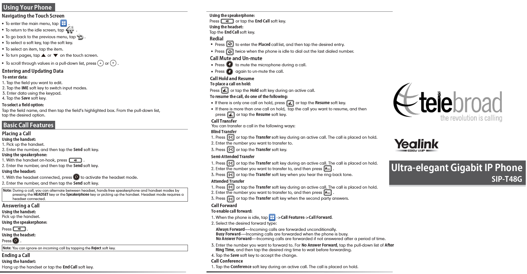 Yealink T48G Quick User Guide and Keys Layout: Teleboard