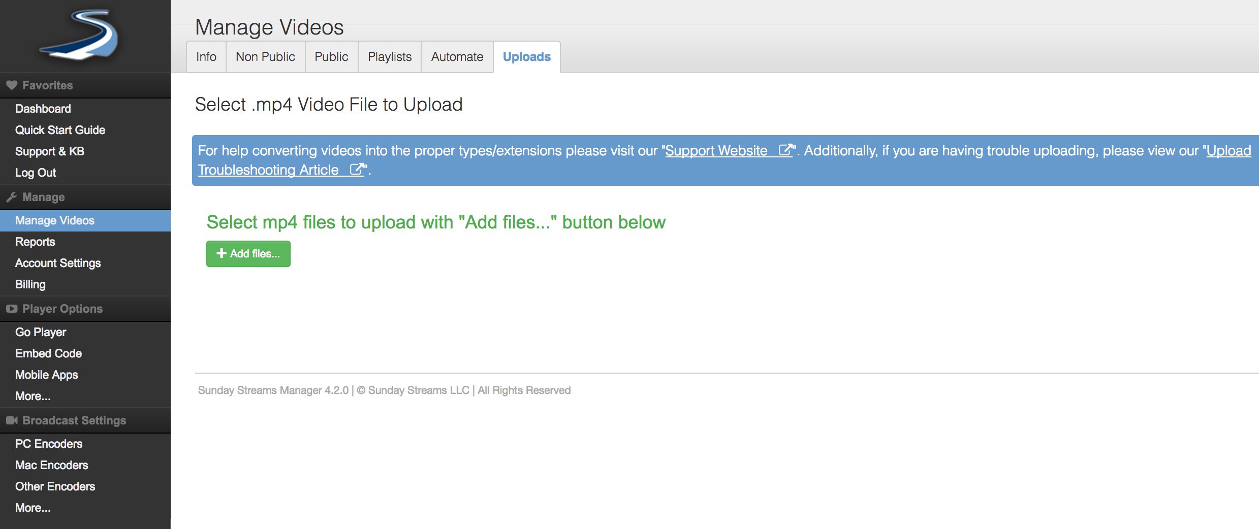 Upload a video with the HTML5 uploader : Sunday Streams Support