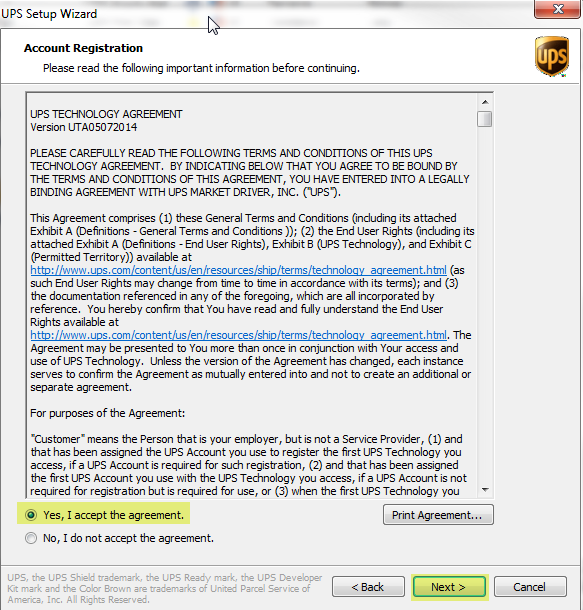 Creating a new ups account in shipworks shipworks support select that you accept the license agreement and then click next platinumwayz